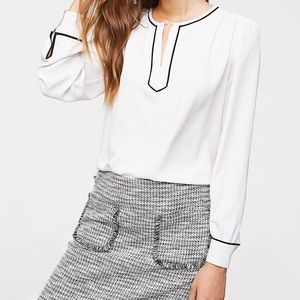 Gorgeous white blouse with black piping